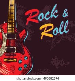 Vintage rock and roll. Music background. Vector illustration