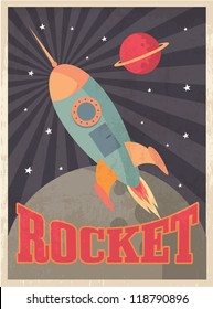 vintage rocket vector/illustration