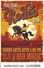 Vintage rodeo advertising poster with inscriptions and cowboy riding horse on desert landscape vector illustration