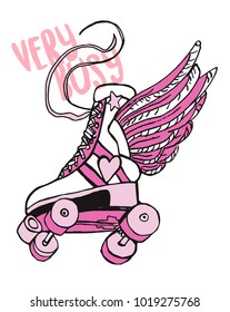 Vintage roller skate with wings. patch sticker design.