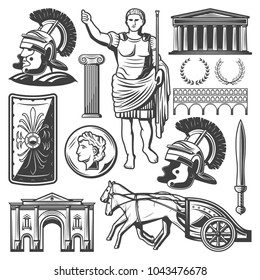 Vintage roman empire elements set with gladiator sword shield chariot emperor Caesar Triumphal Arch Pantheon coin column Coliseum isolated vector illustration
