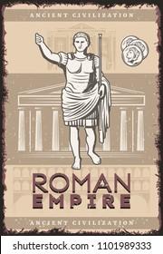 Vintage roman empire poster with inscription Julius Caesar coins on buildings of ancient rome civilization background vector illustration