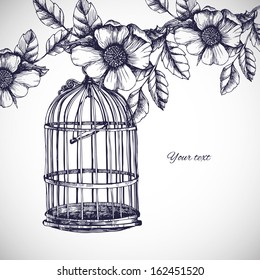 Vintage romantic card with cage and flowers. Vector hand drawn illustration and place for your text.