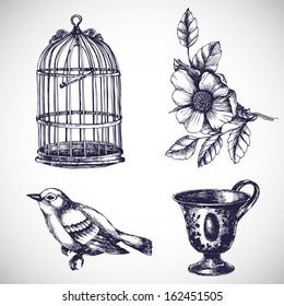 Vintage romantic elements set. Vector hand drawn illustration.