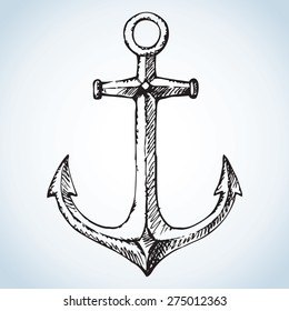 Vintage romantic metallic anchor. Vector monochrome freehand ink drawn background sketchy in art scribble style pen on paper. View close-up with space for text
