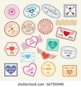 Vintage romantic postal stamps. Vector love elements for scrapbook or letters design. Retro valentine stamp mail illustration
