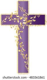 Vintage romantic victorian style purple latin cross with decorative golden foliage vine