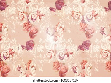 Vintage rose flowers and baroque ornaments pattern Vector. Grunge old paper texture background