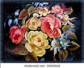 Vintage rose one stroke painting  on black background