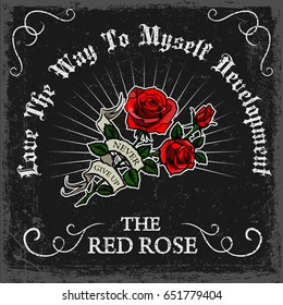 vintage rose poster print vector design with grunge texture and red rose drawing