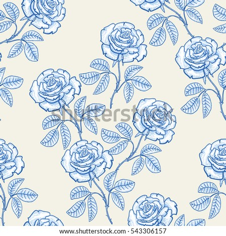 Vintage Rose Seamless Pattern Design Wallpaper Stock Vector Royalty