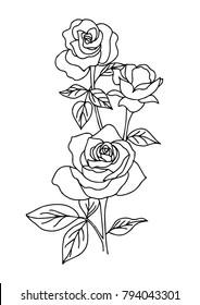 vintage rose tattoo, flower vector illustration on white background