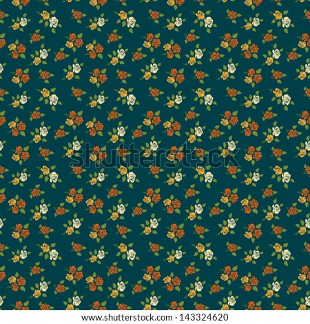 Vintage Rose Wallpaper Background. Retro Style Floral Seamless Ornament Pattern. Flowers on green backdrop