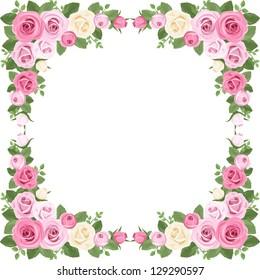 Vintage roses frame. Vector illustration.