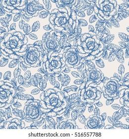 Vintage roses seamless pattern. Engraved rose background. Vector illustration