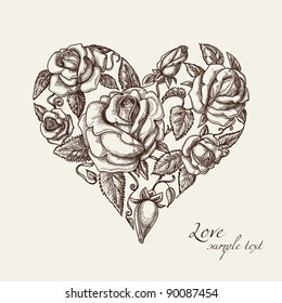 Vintage roses in shape of a heart