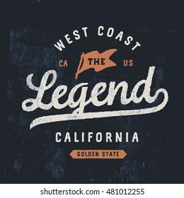 Vintage rough lettering on grange background. Legend t-shirt design template with sign of flag