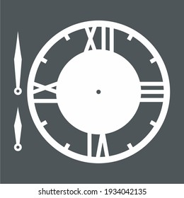 Vintage round clock roman hour time watch antique retro old, silhouette, vector