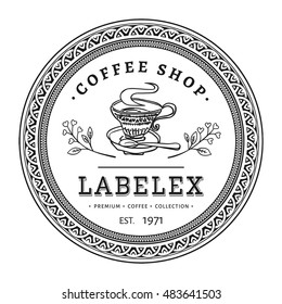 Vintage round coffee shop label with victorian frame. Hand drawn retro circle logo isolated on white background