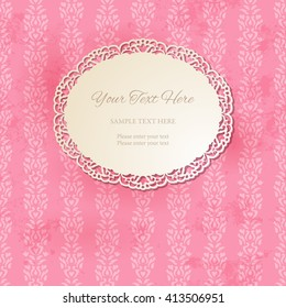 Vintage round decorative frame on seamless ornamental pink background. Oval doily with cutout lacy borders. Old paper grungy texture. Template for your design. Vector illustration EPS 10