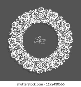 Vintage round frame with lace border ornament, lacy circle decoration for wedding invitation design with floral tulle pattern, vector illustration