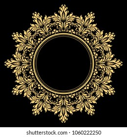 Vintage round frame in retro style, barroco. Flower decorative gold ornament, element for greeting cards, invitation, menu. Stylish vector graphics