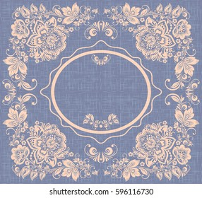 Vintage round frame vector, russian flower ornament in hohloma style, empty space, grunge canvas background