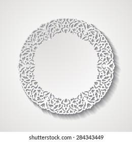 Vintage round lacy ornamental frame. Paper cut design. Vector illustration EPS10