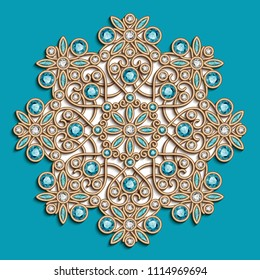 Vintage round swirly pattern, jewelry gold decoration with diamonds and preciouse gems on turquoise background, jewellery vector snowflake or mandala ornament, eps10