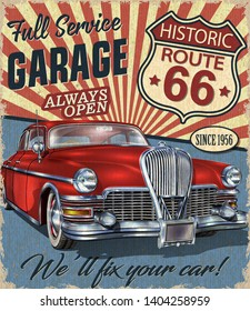 Vintage Route 66 Garage retro poster with retro car.