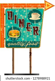 vintage route sixty six diner sign , retro grungy vector illustration