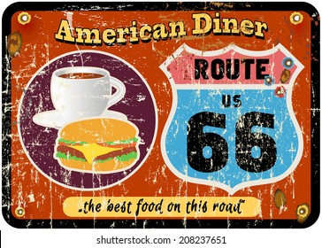vintage route sixty six diner sign, retro style