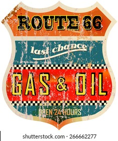 vintage route sixty six gas station sign, retro style