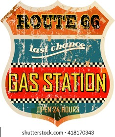 vintage route sixty six gas station sign, retro style, vector illustration