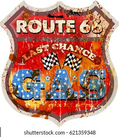 vintage route sixty six gas station sign, vector illustration