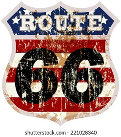 vintage route sixty six road sign, retro style, vector illustration