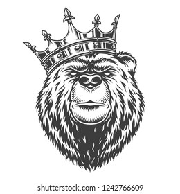 Vintage royal bear head in crown in monochrome style isolated vector illustration