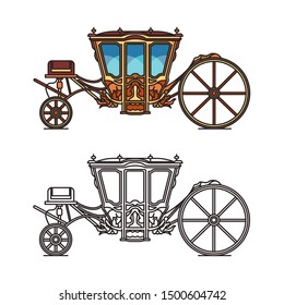 Vintage royal chariot or retro buggy for wedding, Pedro coach or old victorian wheel transport, brougham, vehicle. Fairytale princess cart or medieval wagon. Contour of carriage for icon.Marriage