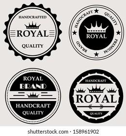 Vintage royal quality handcraft badges design set