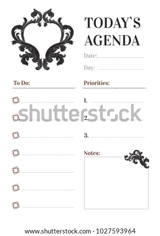 vintage royal style daily planner vector template stationery design cute and simple printable to