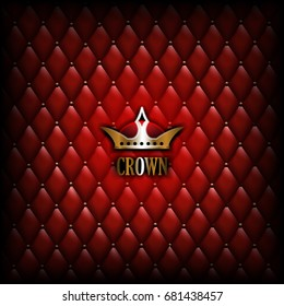 Vintage royalty red leather background with gold crown