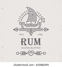 Vintage rum label design with ethnic elements in thin line style. Alcohol industry emblem, distilling business. Monochrome, black on white.