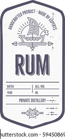 Vintage rum label with ethnic elements in thin line style. Alcohol industry emblem, distilling. Monochrome, black on white. Place for text