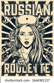 Vintage russian roulette poster with lettering beautiful girl in ushanka hat revolvers brass knuckles game dice diamond and roses in monochrome style vector illustration