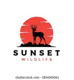 Vintage rustic deer antler silhouette logo design