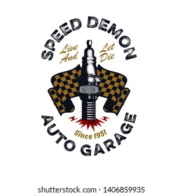 vintage and rustic spark plug and checkered flag emblem isolated on a white background