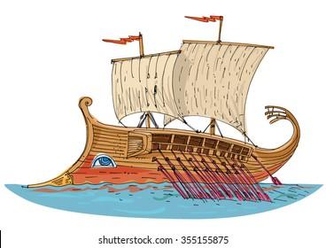 vintage sailboat. Triremis, Roman Empire. Cartoon