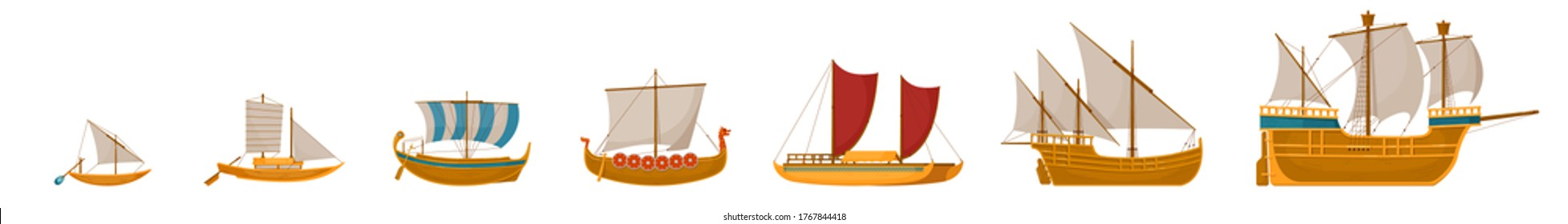 Vintage sailboats set. Isolated cartoon vintage wooden sail boat ship icon collection. Vector old nautical sailboat vessel and ocean travel concept