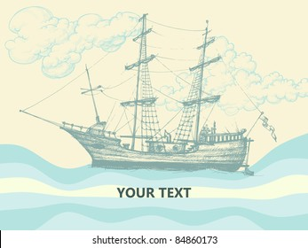 Vintage sailing boat side view, stylized waves and clouds design