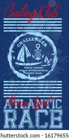 vintage sailing club vector art
